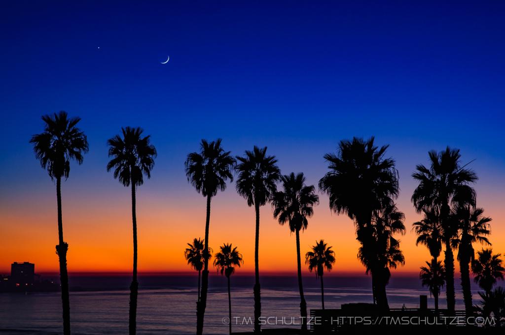 Sunset, Moon, Venus, at La Jolla Shores