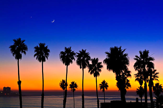 Sunset, Moon, Venus, at La Jolla Shores, by T.M. Schultze