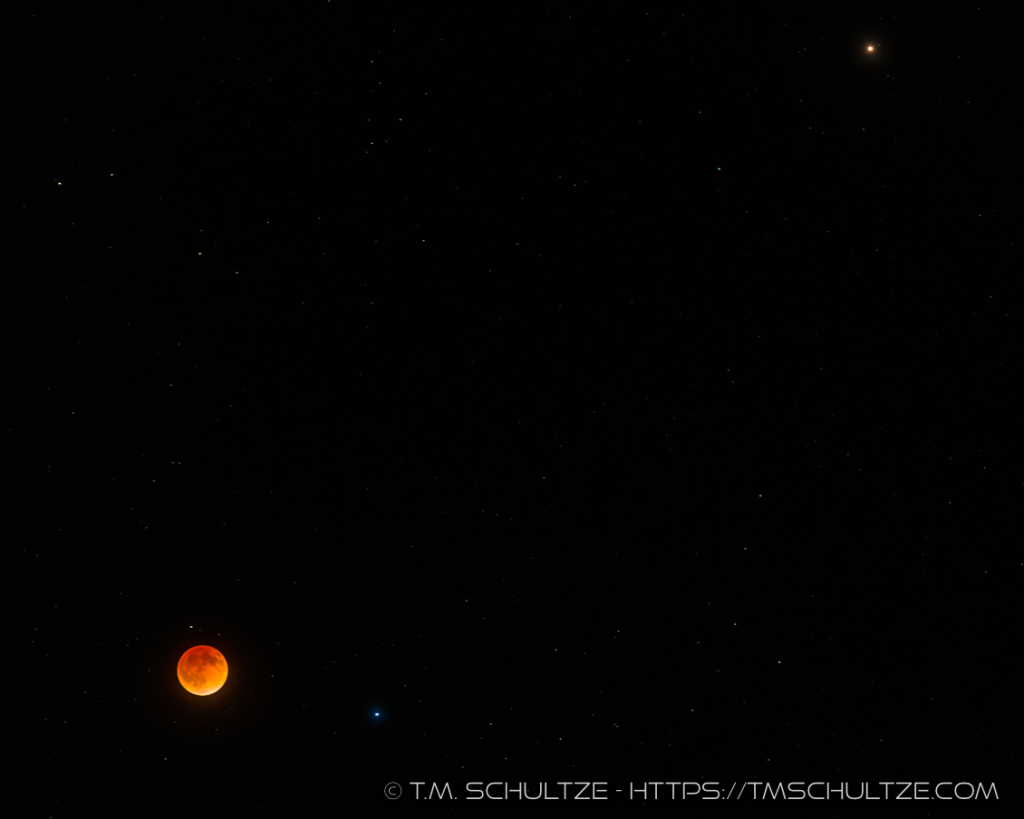 Lunar Eclipse, Spica, and Mars