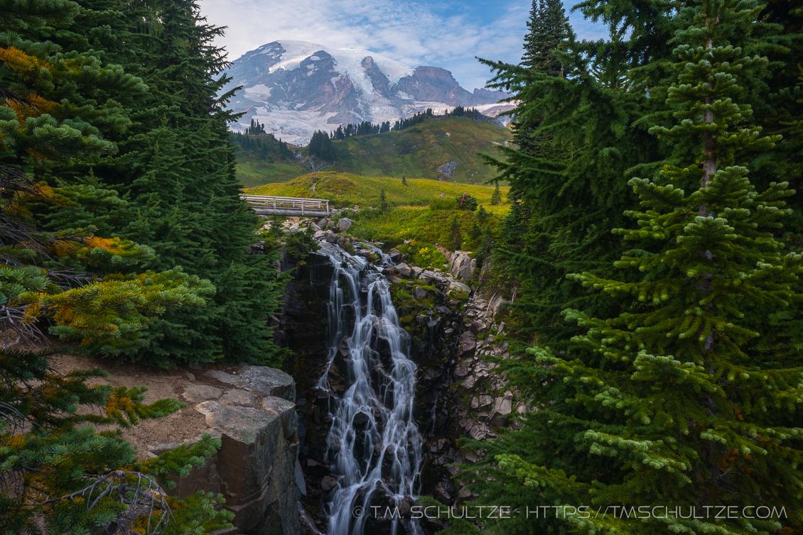 Mt. Rainier and Myrtle Falls by T.M. Schultze