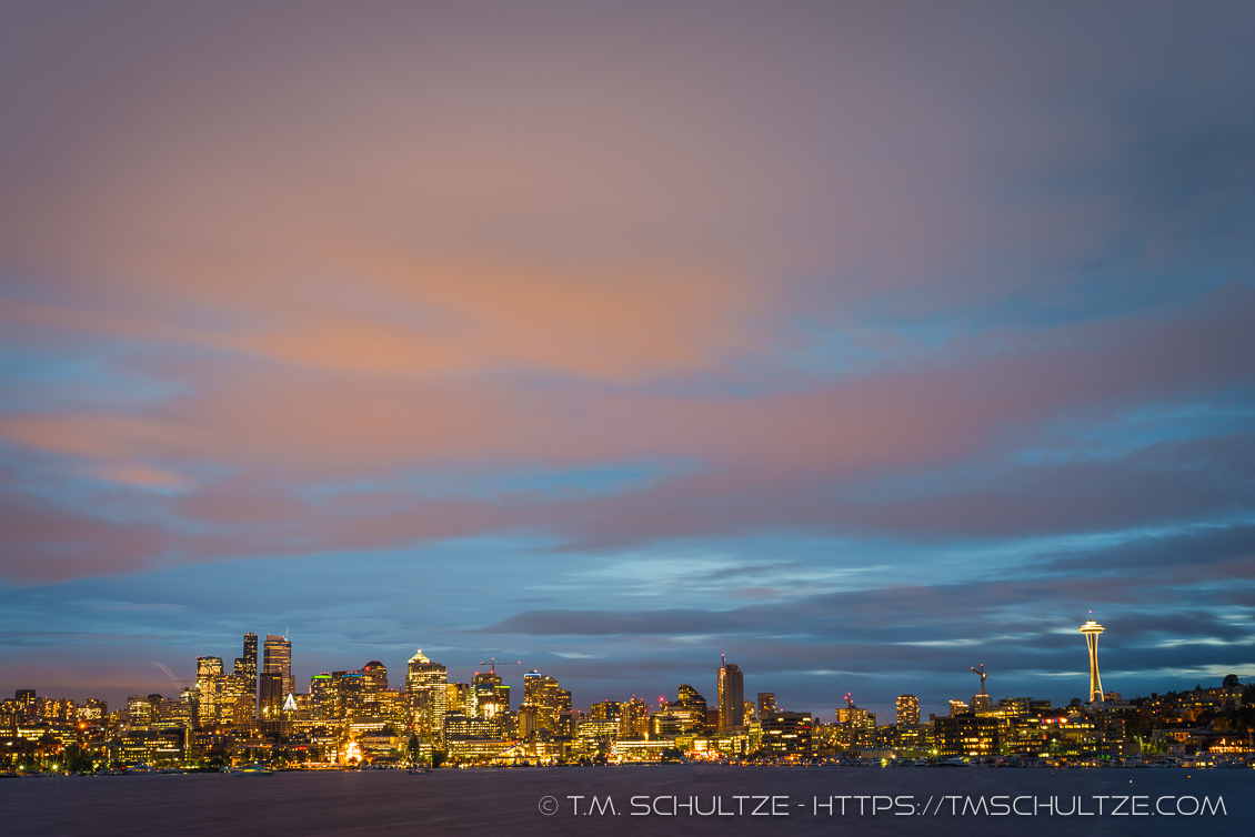 Downtown Seattle At Night From Gas Works Park by T.M. Schultze