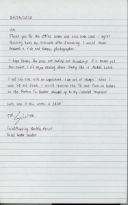 Letters To Friends: My Letter To Joe